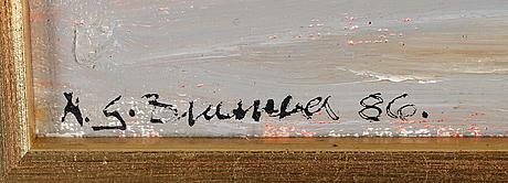 Nils-gÖran brunner, olja på pannå, signerad och daterad 86.