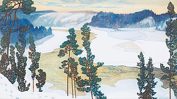 "5. HELMER OSSLUND, ""Vårvinterdag med nysnö, Forsmo"" (Early spring with newly fallen snow, landscape from Forsmo)."