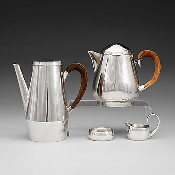 601. A Rey Urban 4 pcs sterling tea and coffee service, Stockholm 1959-1969.