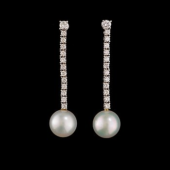 12. A pair of cultured South sea pearl and brilliant-cut diamond earrings.