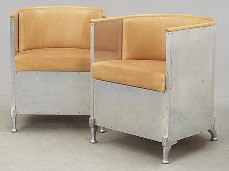A pair of mats theselius 'aluminium/theselius' easy chairs, källemo, sweden, post 1990.