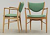 A finn juhl dining set of a teak and beech table, four beech 'bo-63' chairs and two armchairs, bovirke. denmark.