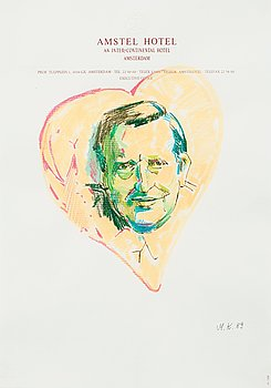 "416. Martin Kippenberger, ""Olof Palme"" (from the series Hotel Drawings)."