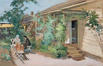 2. Hugo Backmansson, A COFFEE BREAK IN THE GARDEN.