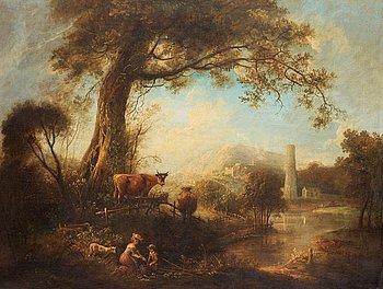 207. Elias Martin, Pastoralt flodlandskap med fiskare vid ett träd, i bakgrunden en stad.