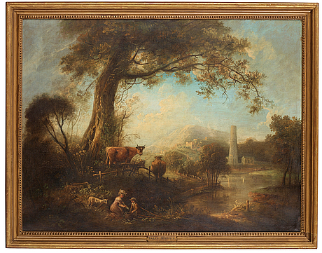 Elias martin, pastoralt flodlandskap med fiskare vid ett träd, i bakgrunden en stad.
