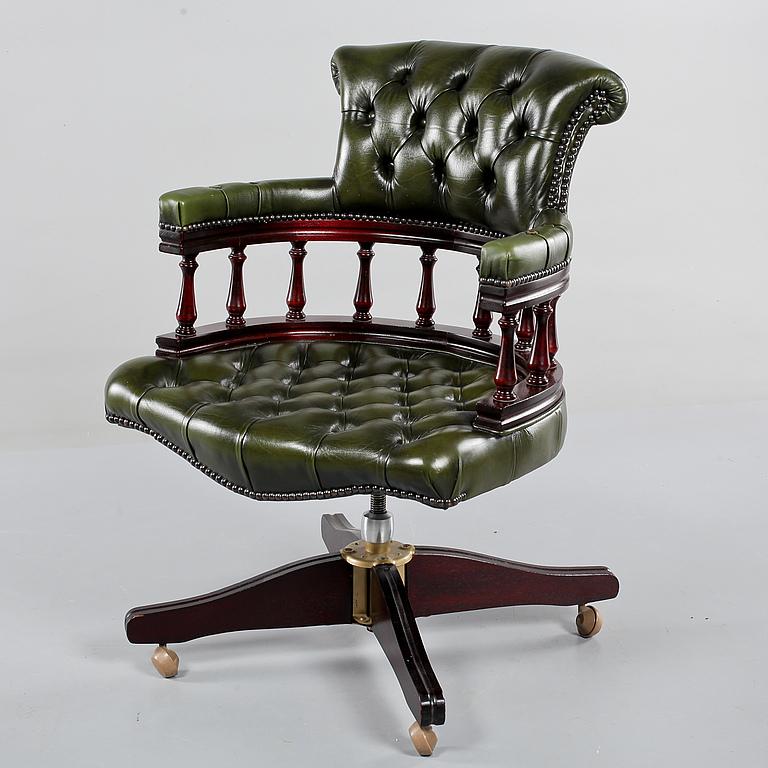engelsk fåtölj skinn ~ skrivbordsstol, engelsk stil, 1900talets andra hälft