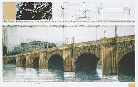 "Christo & jeanne-claude, ""the pont neuf wrapped (project for paris)""."
