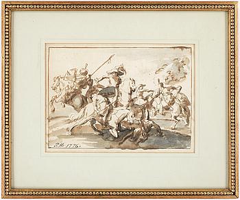 306. PEHR HÖRBERG, Tuschlavering, Sign  P.H. o dat 1776.