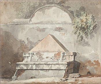 298. Louis Jean Desprez Hans krets, Brunn vid mur.