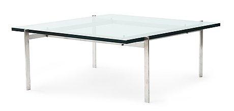 A poul kjaerholm 'pk-61' steel and glass sofa table, fritz hansen, denmark.