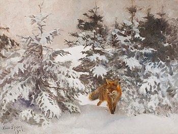 603. Bruno Liljefors, Räv i vinterlandskap.