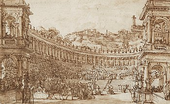 310. Louis Jean Desprez, Amfiteater som teaterkuliss.
