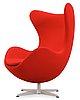 An arne jacobsen red fabric 'egg' chair, fritz hansen, denmark 2002.