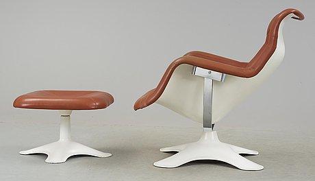 An yrjö kukkapuro 'karuselli' easy chair with ottoman, haimi, finland 1960's-70's.