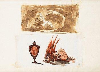 303. Carl August Ehrensvärd, Gravmonument med trofeer & antik målad vas samt grottscen.