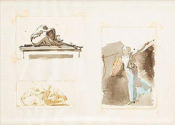304. Carl August Ehrensvärd, Stridande amason & sörjande kvinnogestalt vid soldatgrav.
