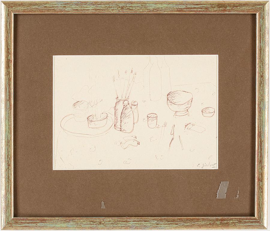 LENNART JIRLOW, teckning, signerad.