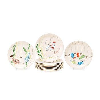 7. A set of twelve Stig Lindberg 'Löja' creamware plates, Gustavsberg 1948-62.