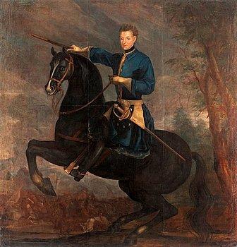 """203. David von Krafft Hans krets, """"Karl XII till häst"""" (1682-1718)."""