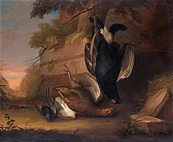 204. Stilleben med hönsfåglar.