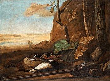 206. Govert Dircksz. Camphuysen Tillskriven, Jaktstilleben med änder och hjullåsgevär.
