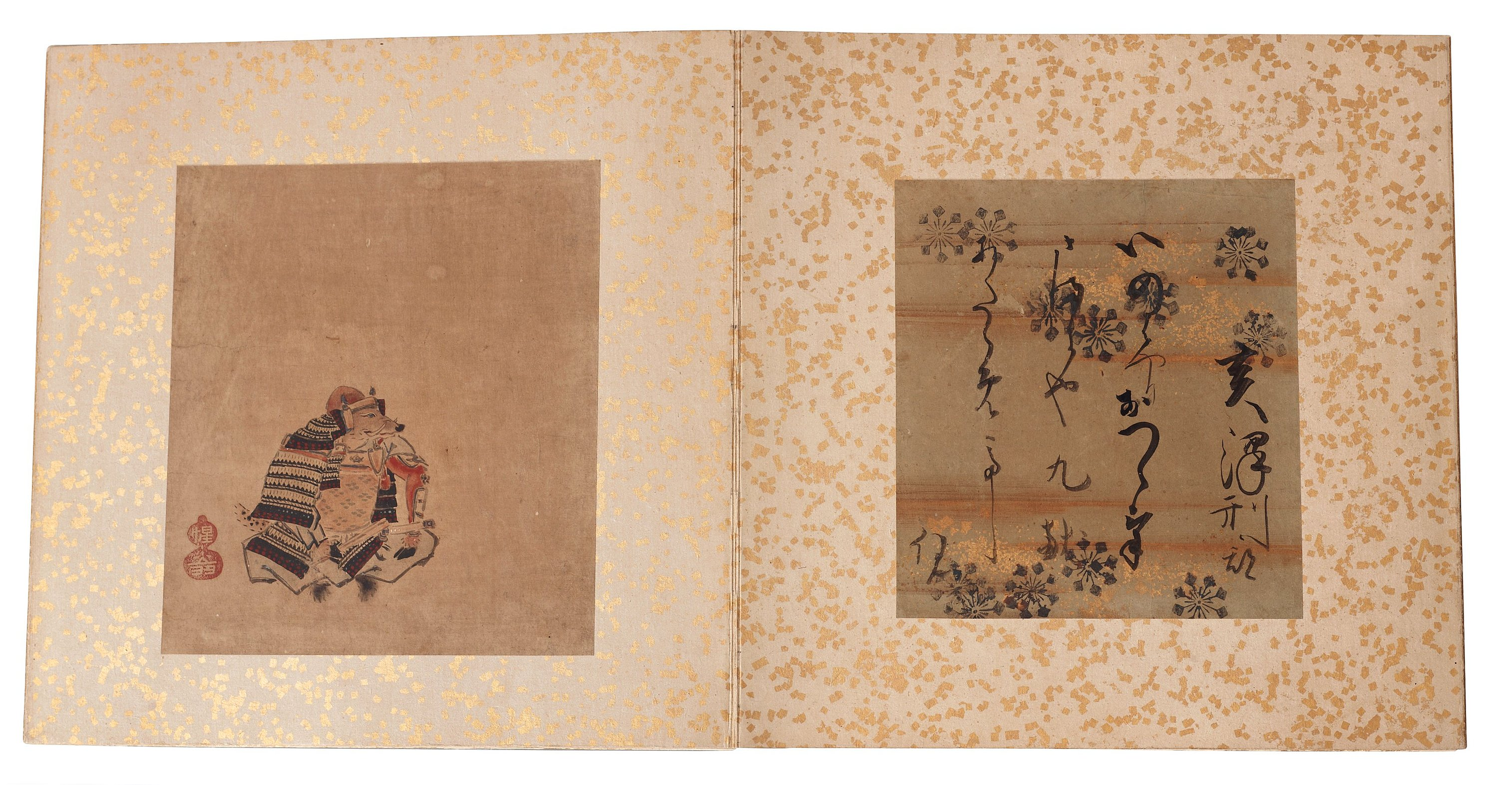 A Japanese album comprising 12 paintings with calligraphy of the