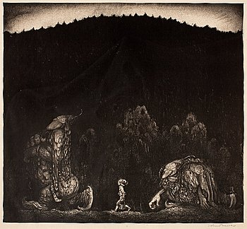 102. John Bauer, Boy and two trolls.