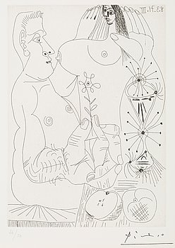 """307. Pablo Picasso, """"Couple avec pommes"""", from: """"Series 156""""."""