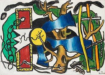 """368. Fernand Léger, """"Composition à L'oiseau, esquisse""""."""