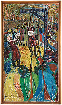 Uno Vallman, oil on panel, signed and dated -44.