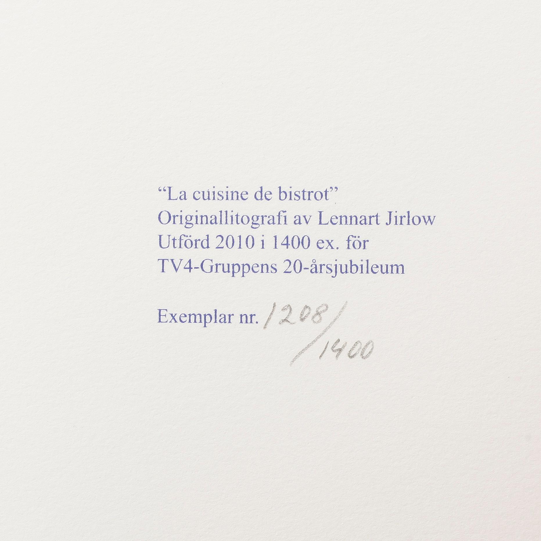 "La Cuisine De Bistrot lennart jirlow, ""la cuisine de bistrot"", litografi, signerad"