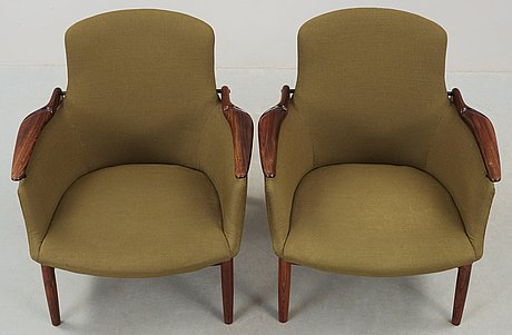 A pair of finn juhl 'nv-53' easy chairs, cabinetmaker niels vodder, denmark 1960's.