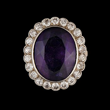 141. Wiwen Nilsson, A Wiven Nilsson amethyst and old-cut diamond, circa 1.30 ct in total, ring.