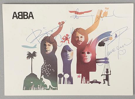 Abba-autografer, 4 st på vykort, egenhändiga.