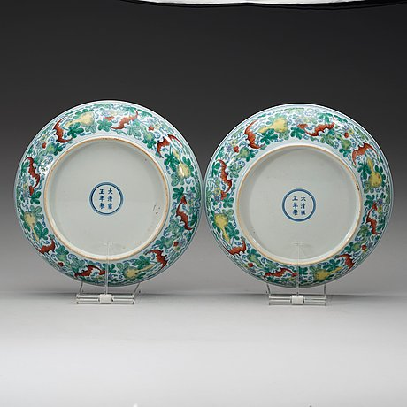 A pair of doucai dishes, republic with yongzhengs six character mark within double circles.