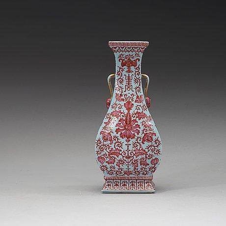 A 'clair du lune glazed' enamelled vase, republic (1912-49) with qianlong sealmark.