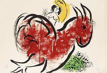 """215. Marc Chagall, """"Le coq rouge"""", from: """"Derrière le Miroir no 44-45""""."""