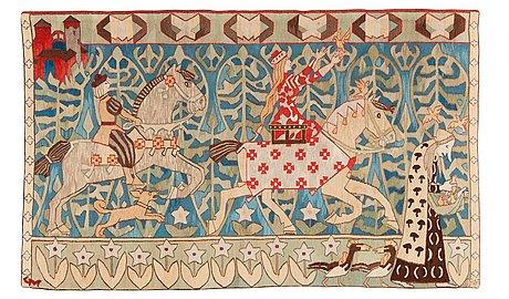 "Vävd tapet. ""prinsessen og gullfuglene"". gobelängteknik. 141,5 x 231 cm. signerad gm dnh (gerhard munthe, den norske husflidsforening)."
