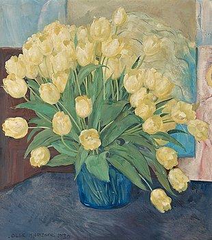 529. Olle Hjortzberg, Stilleben med gula tulpaner.