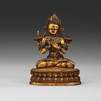 211. A gilt copper alloy figure of Manjushri, Nepal 15th/16th Century.