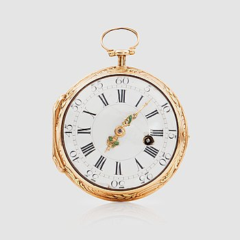 1065. POCKETWATCH, gold, Louis XV, Augustin Bourdillon, Stockholm, ca 1760.