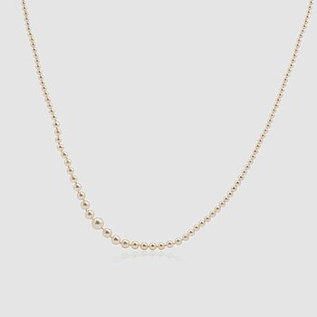 1435. A graduated single strand, slightly baroque, possibly natural pearl necklace.