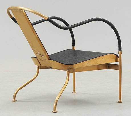 A mats theselius 'el rey' brass and leather easy chair, by källemo, sweden.