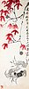 Målning av qi baishi (1864-1957). krabbor och höstlöv, signerad med dedikation.