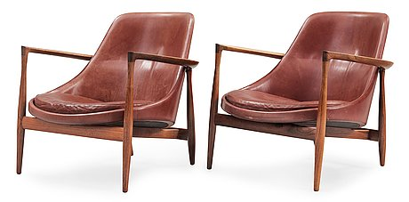 A pair of ib kofod larsen 'elisabeth' easy chairs, christensen & larsen, 1950's-60's.