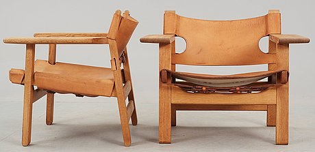 A pair of børge mogensen oak and leather 'spanish chairs', fredericia stolefabrik, denmark.