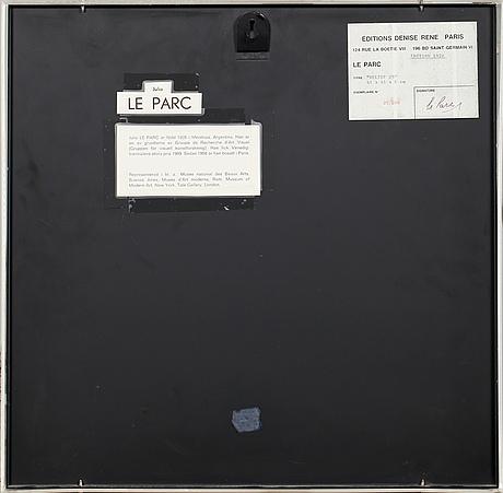 Julio le parc, multipel, signerad och numrerad 25/200 a tergo på påklistrad etikett.