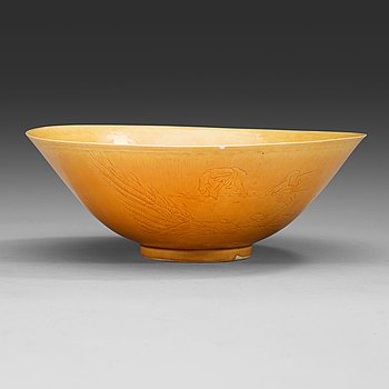 3. A yellow glazed bisquit bowl, Qing dynasty, Kangxi (1662-1722).