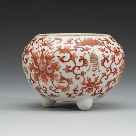 A red lotus tripod brush washer, qing dynasty, 19th century.